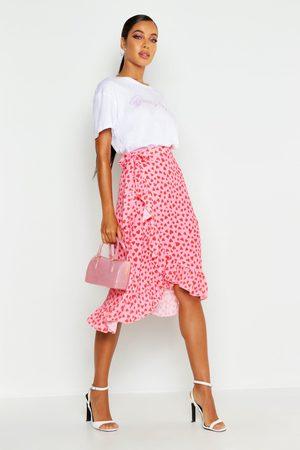 Boohoo Womens Woven Heart Print Ruffle Midi Skirt - - 2