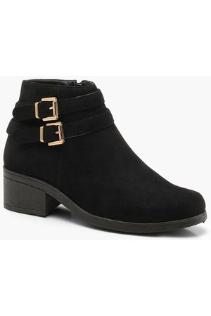 Boohoo Womens Double Buckle Chelsea Ankle Boots - - 5