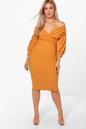 Boohoo Womens Plus Off The Shoulder Wrap Midi Dress - - 12