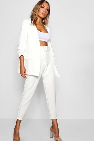 Boohoo Womens Wide Buckle Belt Straight Tapered Pants - - 2
