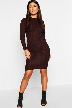 Boohoo Womens Ribbed High Neck Long Sleeved Midi Dress - - 2