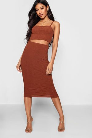 Boohoo Women Midi Skirts - Womens Square Neck Strappy Midi Skirt Two-Piece Set - - 2