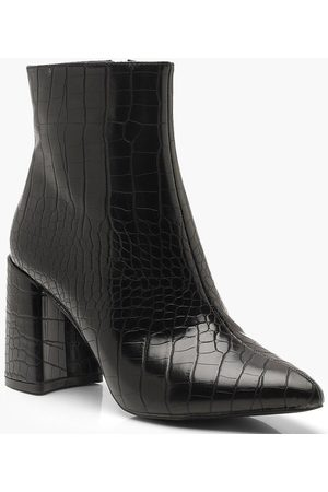Boohoo Womens Croc Block Heel Shoe Boots - - 5
