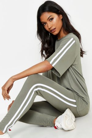 Boohoo Womens Short Sleeve Side Stripe Lounge Set - - 4