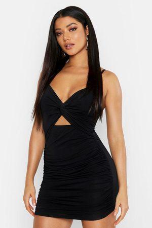 Boohoo Womens Rouche Knot Front Bodycon Mini Dress - - 8