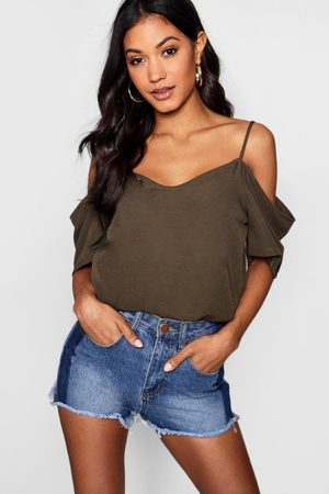 Boohoo Womens Woven Strappy Open Shoulder Top - - 2