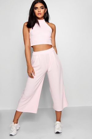 Boohoo Womens High Neck Crop And Culotte Two-Piece Set - - 2