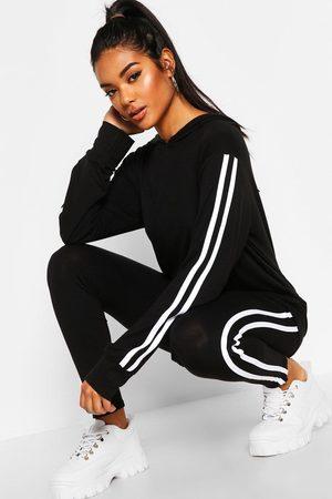 Boohoo Womens Hooded Side Stripe Loungewear Set - - 4