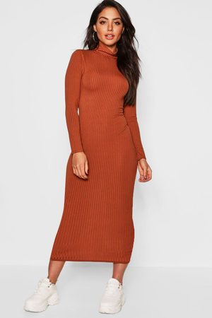 Boohoo Womens Jumbo Rib Turtleneck Midi Dress - - 8