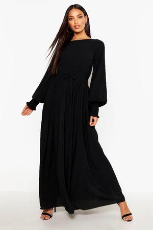 Boohoo Womens Shirred Waist & Cuff Woven Maxi Dress - - 6
