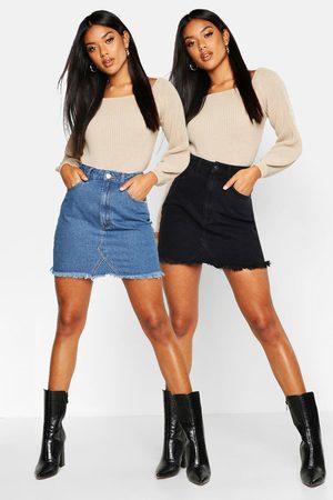 Boohoo Womens 2 Pack High Waist Denim Mini Skirt - - 2