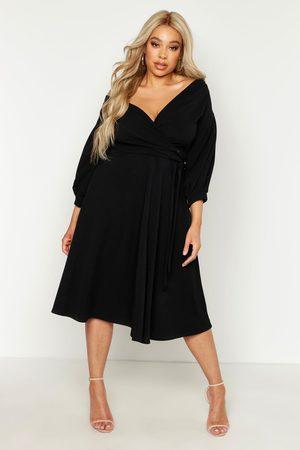 Boohoo Womens Plus Off Shoulder Full Skirted Wrap Midi Dress - - 12