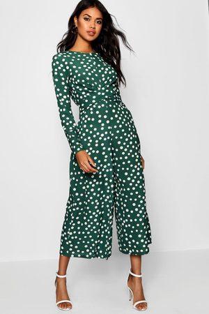 Boohoo Womens Twist Front Polka Dot Jumpsuit - - 4