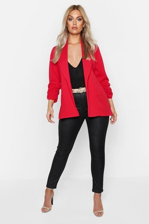 Boohoo Womens Plus Lapel Detail Ruched Sleeve Blazer - - 12