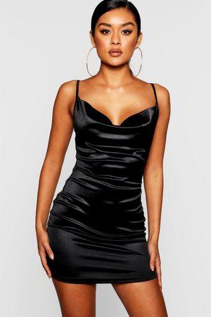 Boohoo Womens Satin Cowl Front Bodycon Dress - - 2