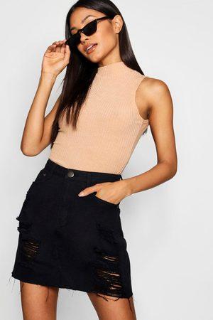 Boohoo Womens Western Distressed Denim Skirt - - 2
