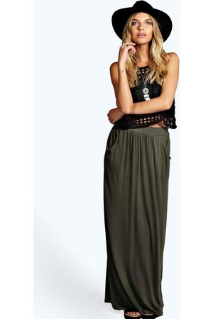 Boohoo Womens Basic Pocket Front Jersey Maxi Skirt - - 4