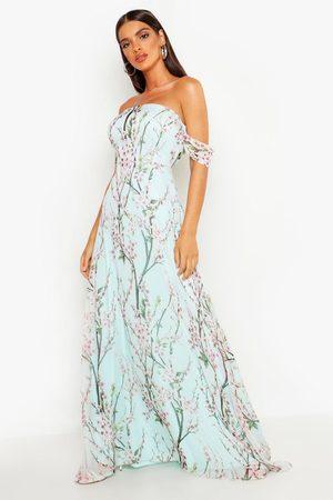 Boohoo Women Printed Dresses - Womens Floral Off The Shoulder Maxi Dress - - 4
