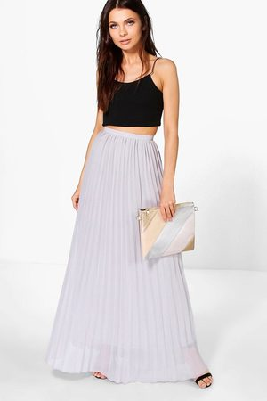 Boohoo Womens Chiffon Pleated Maxi Skirt - - 4