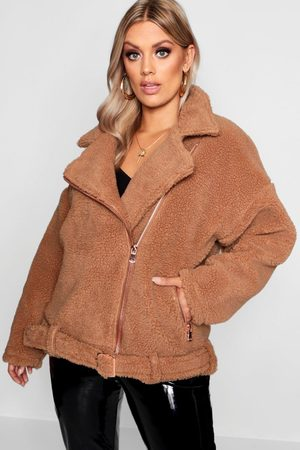 Boohoo Womens Plus Teddy Faux Fur Moto Jacket - - 12
