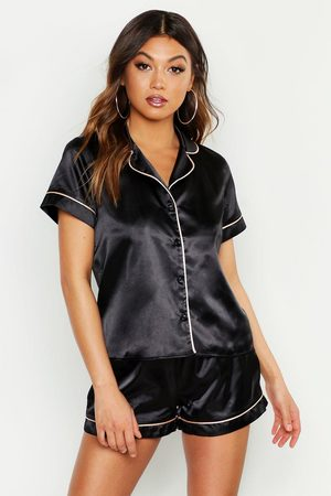 Boohoo Womens Satin PJ Short Set with Contrast Piping - - 4