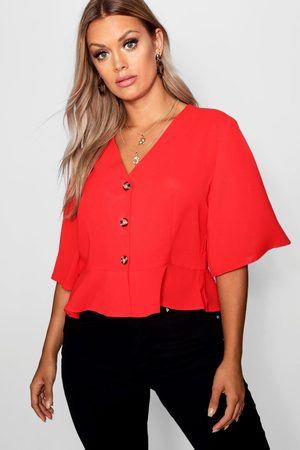 Boohoo Womens Plus Hem Horn Button Hem Top - - 12