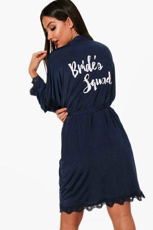 Boohoo Womens Brides Squad Lace Detail Bridal Robe - - S