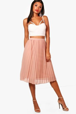 Boohoo Womens Chiffon Pleated Midi Skirt - - 2