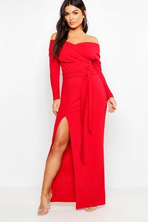 Boohoo Womens Off The Shoulder Wrap Thigh Split Maxi Dress - - 2