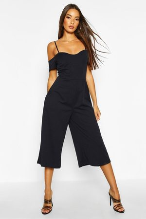 Boohoo Womens Off The Shoulder Culotte Jumpsuit - - 4