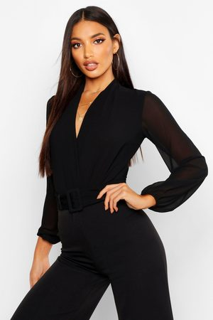Boohoo Womens Drape Chiffon Long Sleeve Woven one piece - - 2