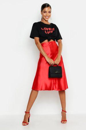 Boohoo Women Midi Skirts - Womens Satin Bias Cut Slip Midi Skirt - - 2