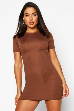 Boohoo Womens Basic Rib Crew Bodycon Dress - - 4