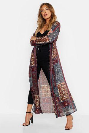 Boohoo Womens Woven Paisley Longline Kimono - - 2