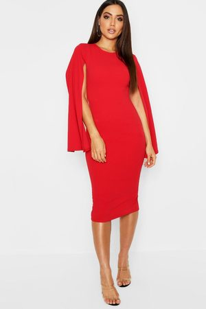 Boohoo Womens Cape Sleeve Bodycon Midi Dress - - 4