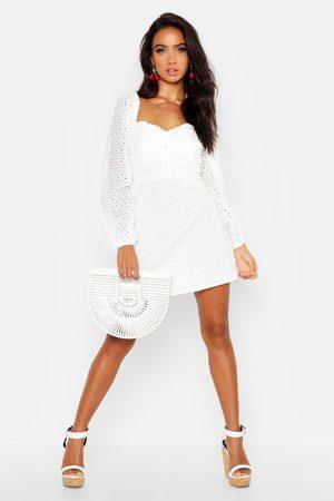 Boohoo Womens Eyelet Sweetheart Mini Dress - - 4