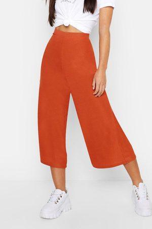 Boohoo Womens Petite Rib Wide Leg Culottes - - 2