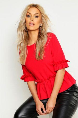 Boohoo Womens Plus Ruffle Sleeve And Hem Peplum Top - - 18