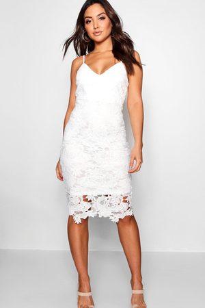 Boohoo Womens Boutique Crochet Lace Strappy Midi Dress - - 2