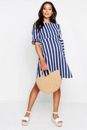 Boohoo Womens Maternity Stripe Ruffle Smock Dress - - 4