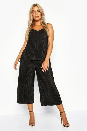 Boohoo Womens Plus plisse Swing Cami + Culotte Co-Ord - - 18