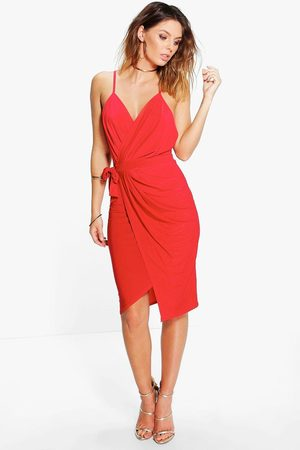Boohoo Womens Wrap Over Exposed Side Detail Slinky Midi Dress - - 2