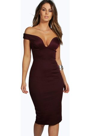 Boohoo Womens Sweetheart Off Shoulder Bodycon Midi Dress - - 2