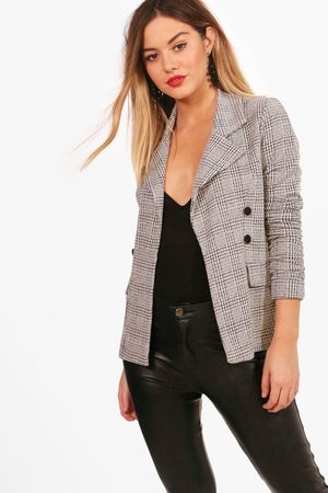 Boohoo Womens Petite flannel Button Sleeve Blazer - - 2