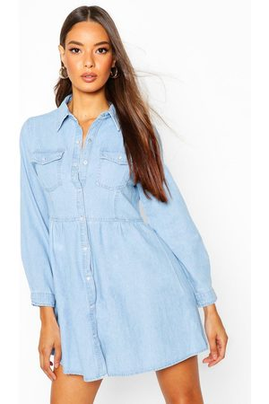 Boohoo Womens Long Sleeve Denim Shirt Dress - - 2