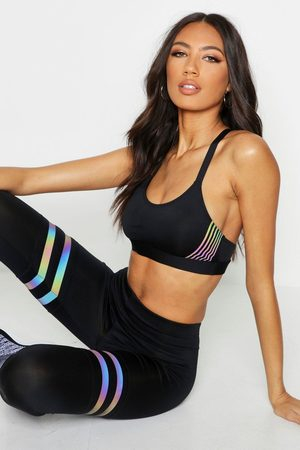 Boohoo Womens Fit Iridescent Stripe Medium Support Sports Bra - - 4