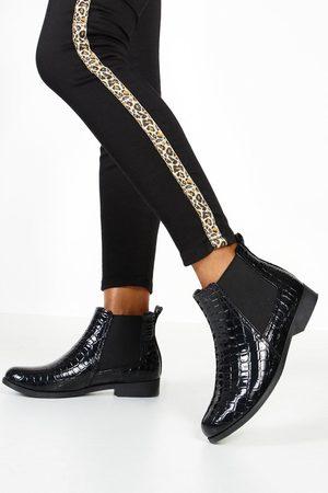 Boohoo Womens Patent Croc Chelsea Boots - - 5
