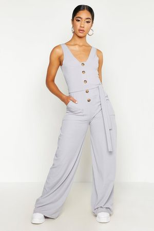 Boohoo Womens Horn Button Ribbed Tie Belt Pocket Jumpsuit - - 6