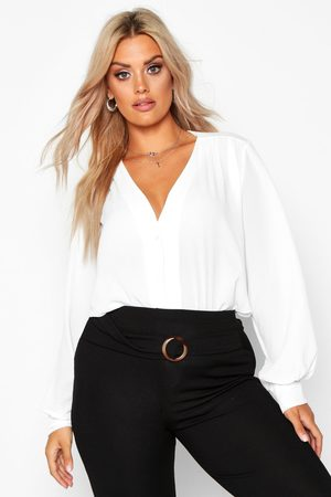 Boohoo Womens Plus Woven Button Through Collarless Shirt - - 12