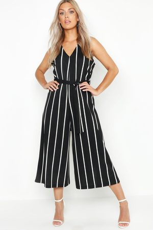 Boohoo Womens Plus Stripe Culotte Belted Jumpsuit - - 12